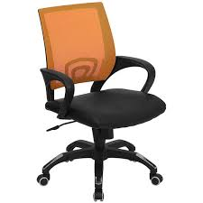 flash furniture cp b176a01 orange gg mid back computer office chair with orange mesh back and