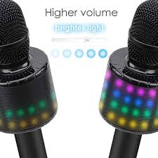 Bright Lights Vocal Pack Bonaok Wireless Bluetooth Karaoke Microphone With Controllable Led Lights Portable Handheld Karaoke Speaker Machine Birthday Home Party For