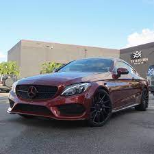 Mulpix Mercedes Benz C300 Coupe Color Keyed Cardinal Red Metallic Accents Painted Satin Black Sitting On 20 Niche Wheels Mercedes Benz Coupe Red