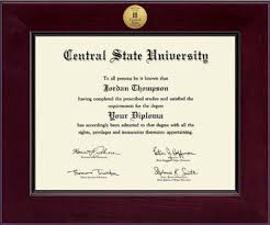 central state university century gold engraved diploma frame in  central state university diploma frame