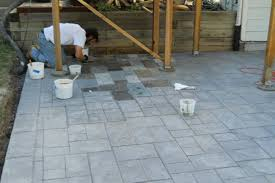 blue stained concrete patio. Hand Staining Concrete Patio Littleton Co Blue Stained E