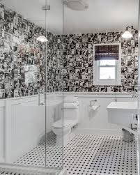 Checkered Bathroom Transitional With Black And White Wall