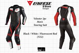 details about new dainese veloster div 2 pc men leather suit black white fluo red eu 56 us 46