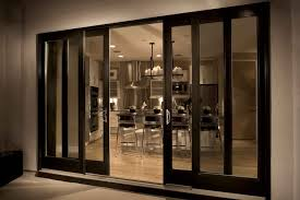 modern sliding french doors exterior with wooden frame painted with dark brown color with side windows outswing ideas