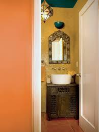 Unique diy bathroom ideas using wood Bathroom Mirror Sand Colored Powder Room With White Vessel Sink Atop Carved Wood Moroccan Vanity Diy Network Fulltilt Half Baths Diy