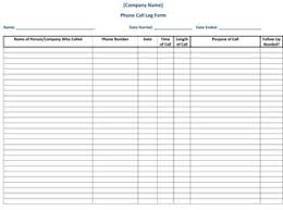 Phone Call Log Form Small Business Free Forms