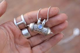 moonstone mantra necklace sterling silver mantra box buddhist prayer box mala meditation yoga crystal ashes necklace