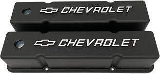 Amazon Com Small Block Chevy Tall Bowtie Logo Raised Letter Black Valve Covers Automotive