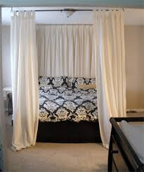 diy canopy bed - using curtain rods above bed onto ceiling! like how ...