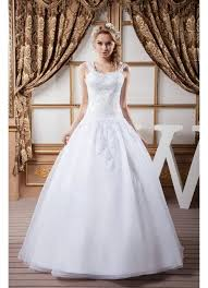 embroidery white wedding gowns with straps