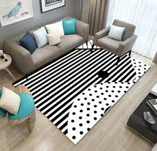 details about black white striped area rug carpet home decor living room adorn floor mat