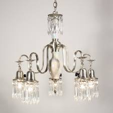 sold remarkable antique five light chandelier with porcelain and prisms c 1920