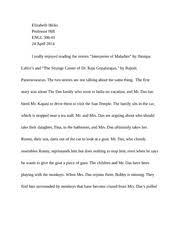 interpreter of maladies documents course hero interpreter of maladies paper