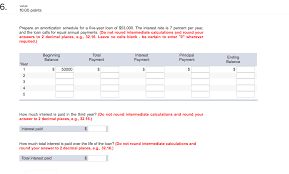 Loan Amortization Calculator Annual Payments Solved Prepare An Amortization Schedule For A Five Year L