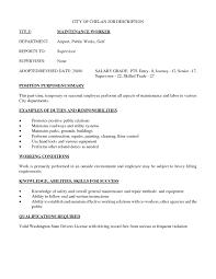 Building Maintenance Job Description Resume Free Resume Example