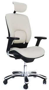white leather executive chair. GM Seating Ergolux Genuine Leather Executive Hi Swivel Chair Chrome Base With Headrest White