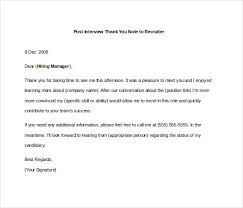 8 Post Interview Thank You Notes Free Sample Example Format Thank