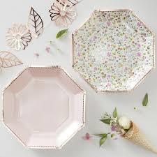 Pink Flower Paper Plates Rose Gold Pink Floral Paper Plates Ditsy Floral Pippa Rose