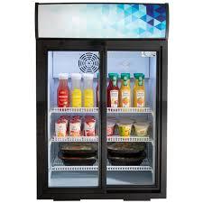 countertop display refrigerator with sliding door and merchandising panel image preview