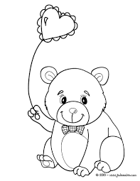 Coloriage Nounours Top Coloriage Ourson Au Ballon En Coeur