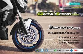 Cr Decals Designs Dominar 400 Dominar 400 Go Hyper Riding Rims Sticker Kit Blue