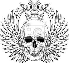 Fototapeta Lidská Lebka S Křídly A Korunou Pro Tetování