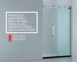 glass shower screen premium adjule wall to wall frameless 10mm sliding