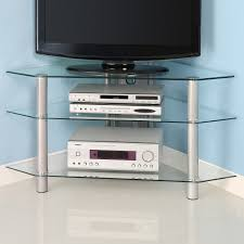 Cool Tv Stand Ideas simple cool glass corner tv stands with stainless steel legs ideas 7632 by uwakikaiketsu.us