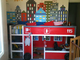 contemporary boy bedroom decoration with glass window and fire truck bunk bed also wall decal plus wood flooring