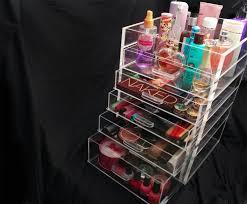 clear acrylic makeup organizer 5 6 or 7 drawer kardashian style storage box cube case w flip top quality design cute beauty bath
