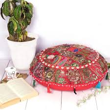 Image Stylo Red Ethnic Indian Patchwork Floor Cushion Cover Round Boho Ottoman Poufs For Home Decor 28 Oussum Red Ethnic Indian Patchwork Floor Cushion Cover Round Boho Ottoman