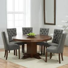 trina dark solid oak round dining table with 6 albany grey chairs 7002