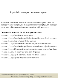 Top 8 lab manager resume samples In this file, you can ref resume materials  for ...