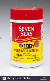 seven seas one a day pure cod liver oil capsules conner stock image