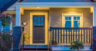 porch lighting ideas. Front Porch Lighting Ideas - Entrance Of A House At Dusk In Vancouver, Canada  