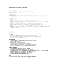 Fascinating Resume Line Cook Job Description In Cook Resume