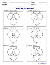 Shade Venn Diagram Venn Diagram Worksheets Shade The Regions Using Three Sets