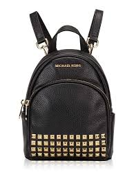 michael kors abbey studded leather zip extra small backpack