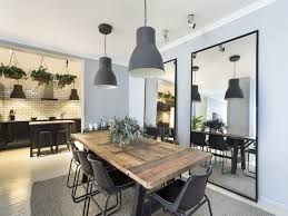 industrial style dining room lighting. Industrial Style Dining Room, Rustic Wooden Table, Large Mirrors With Black Surround, Gray Room Lighting D