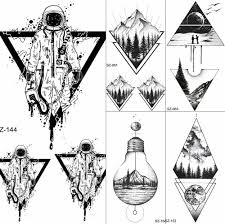 Fanrui Black Triangle Tattoos Temporary Women Geometric Arm Astronaut Art Tattoo Stickers Planet Water Transfer Tatto Space Man