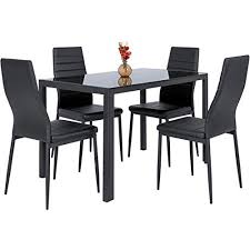 Image High Top Best Choice Products Piece Kitchen Dining Table Set Wglass Top And Leather Amazoncom High Dining Table Set Amazoncom