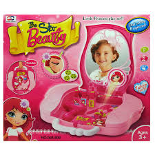 light up beauty salon vanity case play set with makeup and fashion projector walmart
