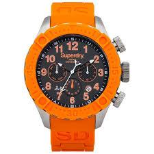 superdry deep sea harpoon chronograph mens orange watch syg180o