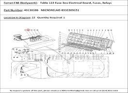 ferrari part number microrelais  ferrari part number 40130106 microrelais 0332209151 shown here as used in a ferrari f40 bodywork table 122 fuse box electrical board fuses relays