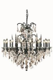 athena 16 light crystal chandelier in dark bronze with royal cut golden teak smoky crystal