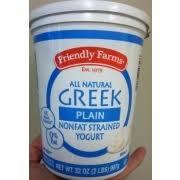 friendly farms greek yogurt non fat plain nutrition grade a