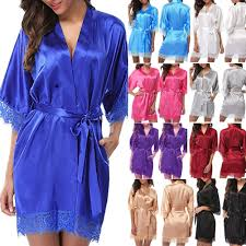 <b>Women's Satin Silk Woman Lace</b> Robe <b>Female Lace</b> Bathrobe ...