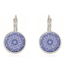 charming blue mandala henna flower pendant earrings