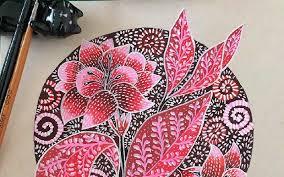 Sketsa gambar bunga | selain cantik dan indah, bunga ternyata memiliki pesona yang bisa membuat semua orang takjub dengan melihat keelokannya saja. Berkreasi Dengan Motif Batik Kudus