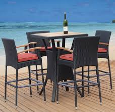 image black wicker outdoor furniture. Outdoor Sweet Black Wicker Bar Table Set With Wooden Countertop And Armless Chairs Orange Pad On Floor Image Furniture